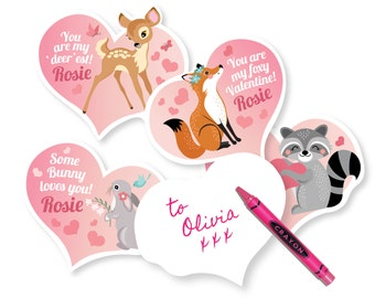Woodland Valentine's Day Cards, printable DIY card classroom, Valentine printable custom text, print for kids classroom, Valentine's Animals