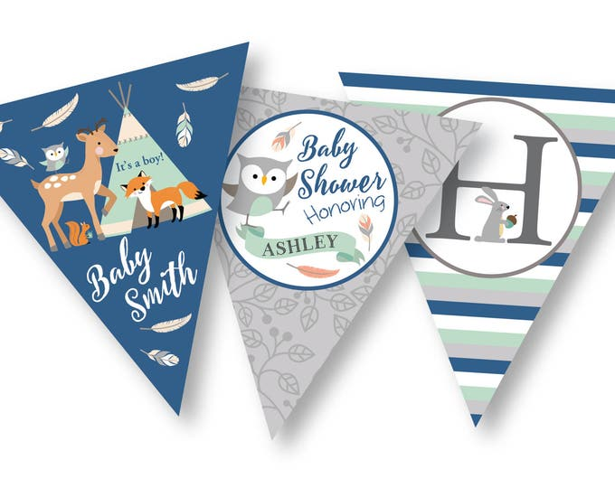 Tepee Woodland Baby Shower Bunting, Banner, DIY, Customized - Gender Neutral / Woodland Animals / Tepee, feathers, arrows, tribal inspired