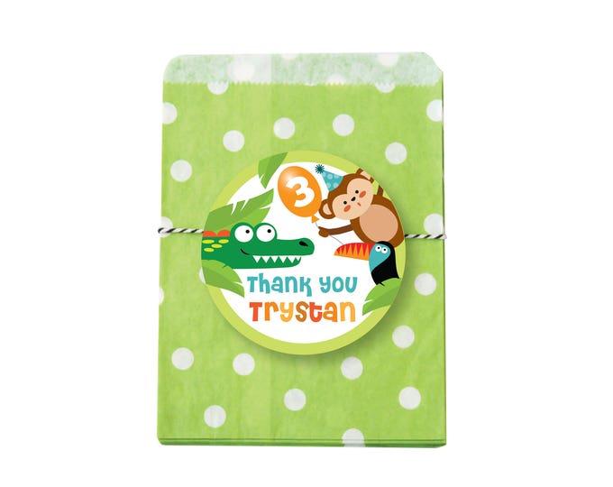 Jungle Favor Tag, Safari  Tag, Hang Tags, Thank You Tags, Animals Birthday Party, Printable tags, Zoo animal tags