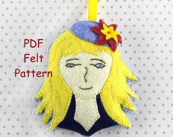 Lady Gloria Felt Ornament Pattern, PDF Felt Pattern, Ornament Pattern, Softie Pattern, Instant Download Digital Pattern