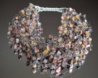 Leopard Illusion Necklace - Gemstone Floating Necklace - Invisible Necklace - Earthy Color Necklace - Gemstone Lush Necklace