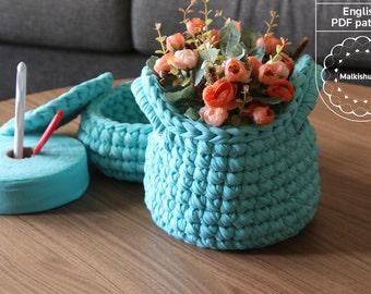 Crochet basket, crochet pattern, DIY basket, T shirt yarn basket, home decor baket, storage basket, crochet pattern