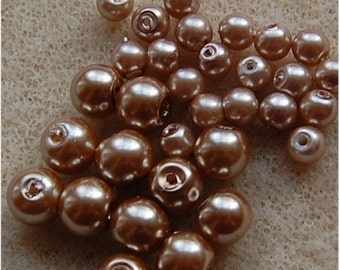PEARL BEADS, Mix of 2 sizes, Champagne, 125 each of 6mm and 4mm, sold in units of 250 beads in total.