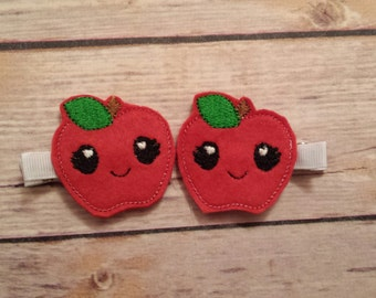 apple felt alligator hair clips