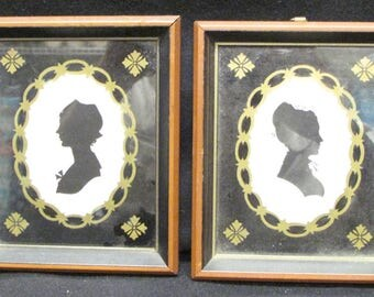 Set of 4 Wallace Nutting Silhouettes John and Abigail Adams, Harriet and Peregine