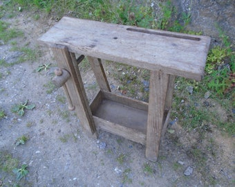 Antique Nineteenth Century French miniature workbench with vice