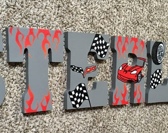 Corvette Race Car Painted Letters - Checkered Flag Nursery Letters - Kids Room Wall Art - Custom Wood Letters