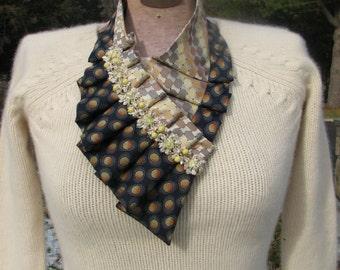 NEW - Silk Ascot - Necktie Ascot - Ladies Ascot - Ruffled Scarf - Refashioned Necktie - Silk Collar - OOAK necktie accessorie