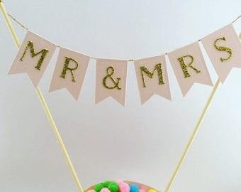 Blush wedding Mr & Mrs Cake Topper Rustic Vintage Wedding Blush Pink Wedding Cake Topper Cake Bunting