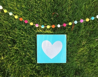 White Glitter Hearts; Wood Signs