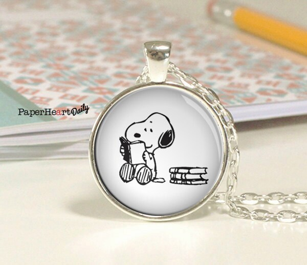 Reading Earrings: Snoopy Necklace Snoopy Reading Necklace Book Jewelry