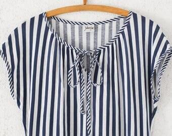 vintage dress nautical stripes size M sailor