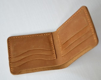 Handmade Wallet  Leather Wallet Hand Sewing Brown Bifold wallet vintage Gift Billfold 6  Card holder #W06 Portefeu