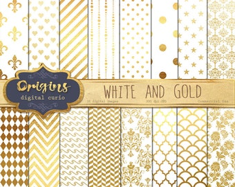 White and Gold Digital Paper - 16 Pack Premium Digital Scrapbook Paper Pack, Scrapbooking Backgrounds Instant Download Commercial Use