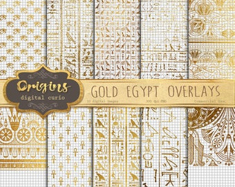 Golden Egyptian Overlays, gold foil transparent PNG clip art hieroglyphics, ankh, Eye of Horus, and Art Deco patterns and designs of Egypt