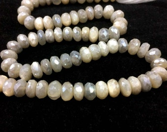 AAA White moonstone mystic faceted rondelle loose gemstone beads, white moonstone beads, multi moonstone necklace
