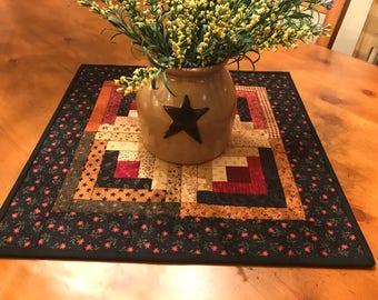 Log Cabin Table Topper / Country Decor / Primitive Decor /Handmade / Item #2002