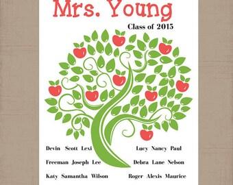 TEACHER Gift, Classroom Kid's Names, Teacher Name Print, Apples on Tree, Teacher Appreciation Gift, CANVAS or PRINT