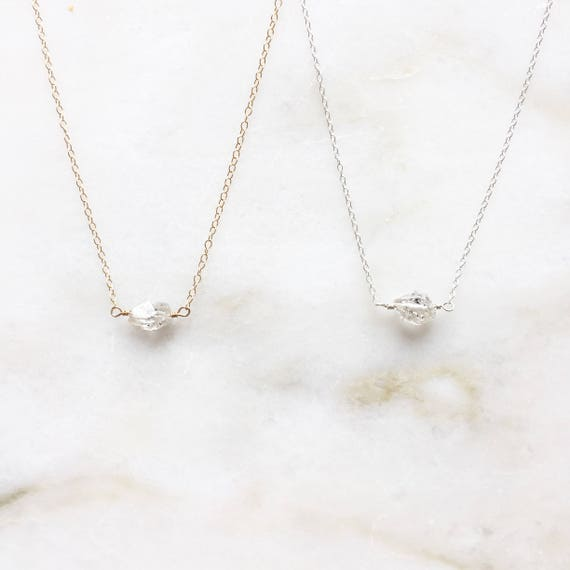 Herkimer necklace | Herkimer diamond | 14k gold filled & sterling silver