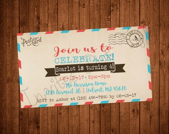 Vintage Airmail Inspired Printable Birthday Invitation