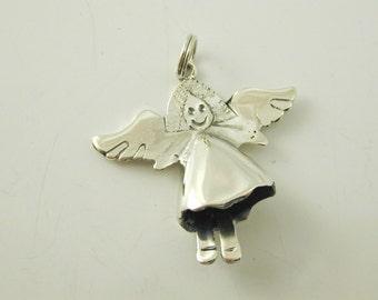 Silver angel pendant charm delightful sterling silver