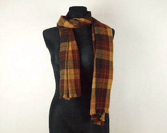 Brown scarf, wool scarf, brown tartan scarf, BISON Scottish scarf, long scarf, 50% Wool 50 Polyester huge scarf small fringe trimmed edges