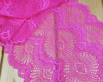 Fuchsia Stretch lace by the meter