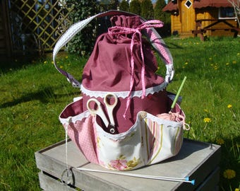Workbasket sewing basket,wool basket Patchwork Shabby 2