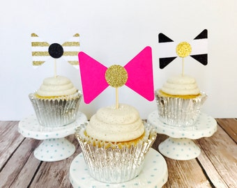 Kate Spade Themed Bow Cupcake Toppers/ Kate Spade Bridal Shower/ Kate Spade Birthday Party/ Kate Spade Baby Shower/ set of 12