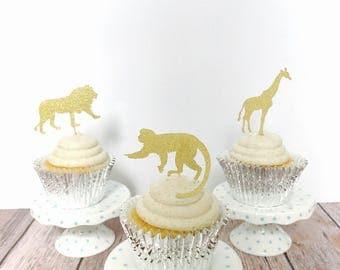 Safari animals Glitter Cupcake Toppers/ safari cupcake toppers/ wild birthday cupcake/set of 12