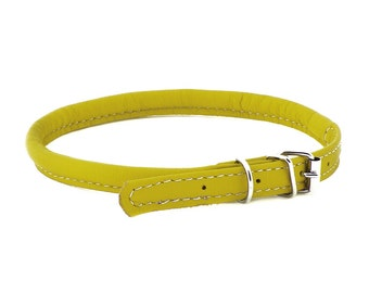 Rolled Leather Dog Collar Soft Yellow Color Sizes XXXS XXS XS S M Long Haired Dog Breeds Cat Puppy Small Pet Mini Dog Pet Show Fashion