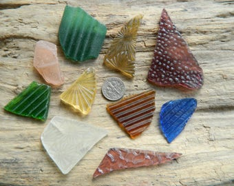 Genuine beach found patterned sea glass in assorted colours for jewellery and crafts