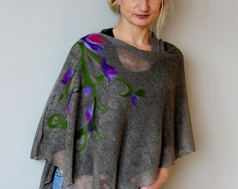 Felted linen poncho flowers Pure Linen Pancho Cape gray wrap poncho linen sweater pancho linen cape Scarf Knit Shawl