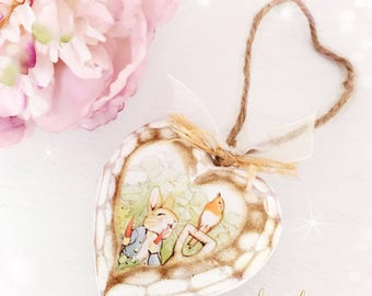 New!! Chunky Wooden Hanging Heart...Peter Rabbit...