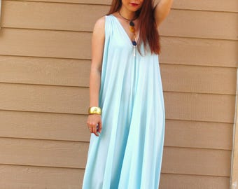 Sky Blue Summer Halter Maxi Dress
