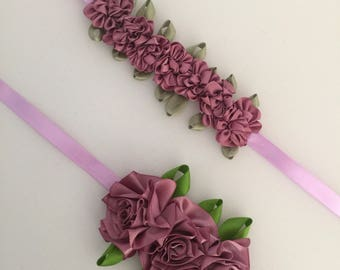 Dusty pink hair bun flower wreaths