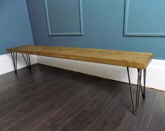 Hairpin Pine Benches,Hairpin Legs,Industrial Style Hair Pin Leg Benches,Steel Legs,Retro Metal Industrial Design, Bench , Hairpin Legs Bench
