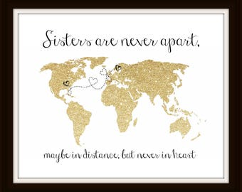 Friendship Map Print Family Map Sister Gift Best Friends Gift Grandparents Map Print Mother Daughter Gift Long Distance Map - 50377G