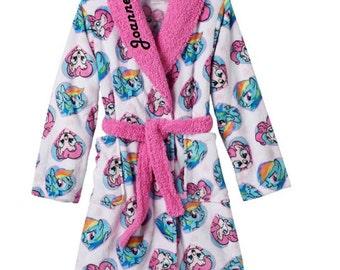 Girls 4-10 MLP My Little Pony Pinkie Pie & Rainbow Dash Fleece Bath Robe - Personalized Monogrammed