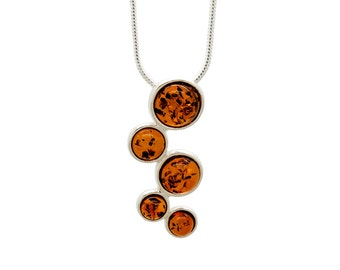 Circle Necklace - Gemstone Necklace - Minimalist Necklace - Amber Necklace - Gift For Her - Baltic Amber -519P1