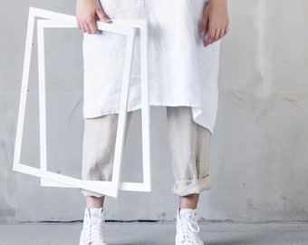 Linen pinafore apron / Square cross linen apron / Japanese style apron / Washed white long linen apron / No ties apron