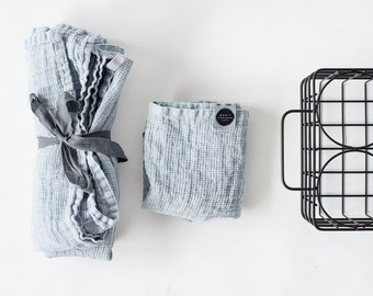 Set of hand and bath waffle linen towel/ Washed waffle linen towels in ice blue/silver grey