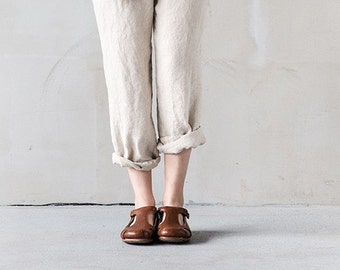 Natural loose linen pants / Washed women linen trousers / Slightly tapered linen pants