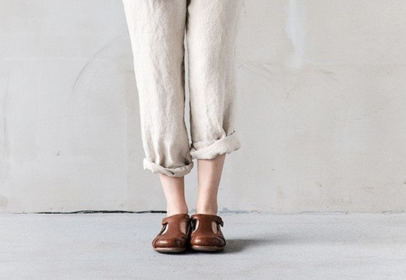 Natural loose linen pants / Washed women linen trousers /