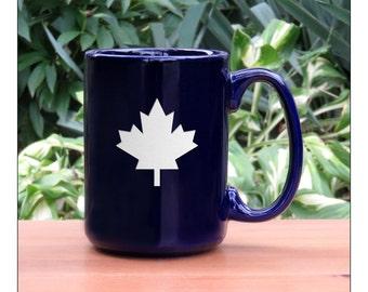 Maple Leaf Coffee Mug / #5 / Ceramic 15 oz Coffee Cup / Solid Maple Leaf Engraved Tea Mug / Maple Ceramic Coffee Mug / Hot Chocolate Mug