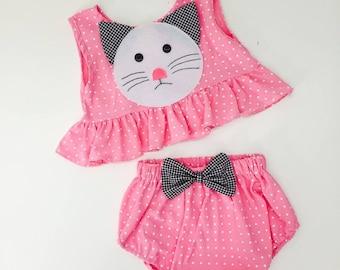 Pink Polka Dot Kitten Twosies for Baby and Toddler Girls