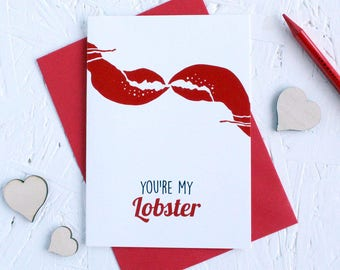 You're my Lobster, Valentine's Day Card, Friend's Quote, You're my Lobster Card, Valentine's Day