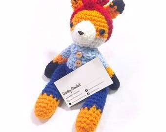 Rosie the Riveter Inspired Fox   - Crochet Doll - Nursery Decor - Baby gift -  Finished Amigurumi Doll - Baby Shower Gift