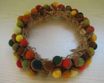 Wreath of felt balls acorns, d-21cm, natural acorn caps, 1,2-2cm felt balls, autumn colors, home decor, wool felt ornament