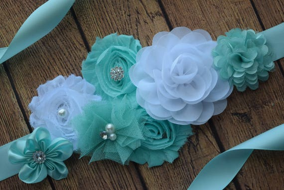 Sash, Mint white Sash #2 , flower Belt, maternity sash, baby shower sash, aqua white sash